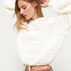 Truly Madly Deeply White Crochet Hoodie Sweatshirt